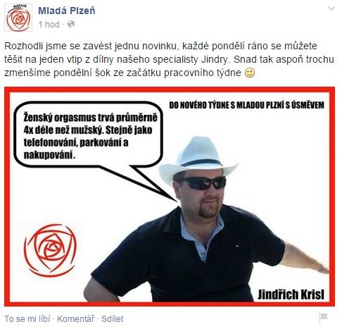 Fb stránka Mladé Plzně  - politické sdružení